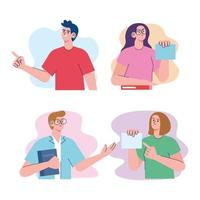 four students characters vector
