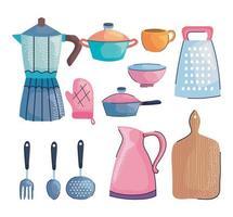 utensilios de cocina doce iconos vector