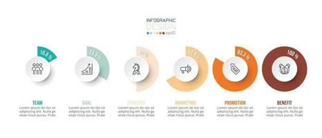 Business concept infographic template with percentage option vector