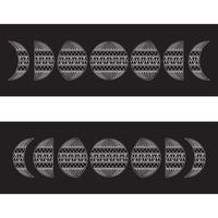 Moon phases in black with white pattern ornament vector illustration