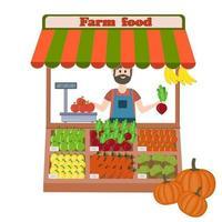 Flat style illustration of a man farmer selling vegetables autumn harvest vector