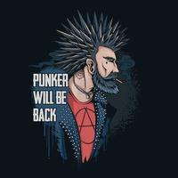 The punker man smokes his hair spikes and wears a spiked rocker jacket he returns to the world to save the earth vector