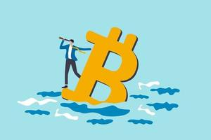 Bitcoin price down future of crypto currency price or vision to see cryptocurrency market concept businessman investor standing on drowning bitcoin symbol using telescope to see future vector