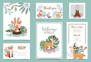 Collection of woodland background set with leaf vector