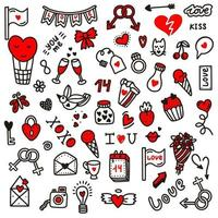 Valentines day love doodles.Vector illustration in doodle style. Design for Valentines Day,wedding, Greeting Cards vector