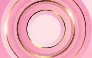 fondo de lujo círculo rosa y dorado vector