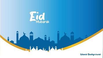 islamic background eid mubarak muslim blue mosque and gold clean banner design vector