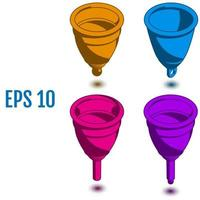 Isometric menstrual cups Different silicone menstrual cups vector