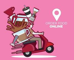 coffee delivery service delivery on mobile Scooter delivery service Vector illustration