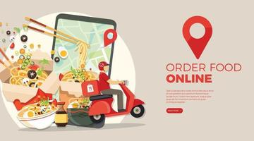 Food delivery service Fast food delivery Scooter delivery service  Vector illustration