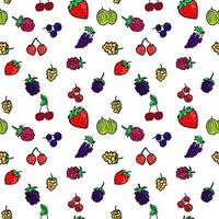 Seamless background with different berries Bright berry pattern vector