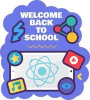 Bienvenido de nuevo al cartel de la escuela para el 1 de septiembre vector