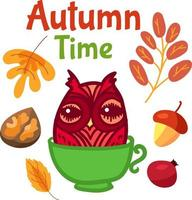 Cute owl in cup for autumn label design vector