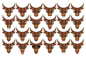 Emoji set bull faces happy smiling cows head signs isolated emotion vector