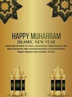 feliz volante de celebración del festival islámico muharram con linterna de patrón árabe islámico vector