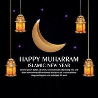 Realistic islamic new year celebration background with golden lantern and moon vector