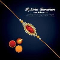 Happy rakhi indian festival invitation background with crystal rakhi and gifts vector