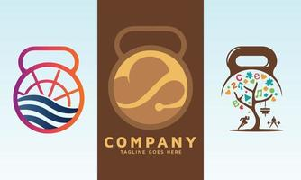 Marine Training with dumbbell and fitness icon vector logo design