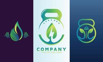 Energy logo set with fitness icon vector