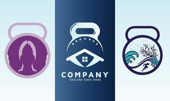 Home Care with dumbbell and fitness icon vector logo design