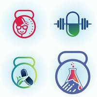 Medical and Pharmaceutical fitness logo set vector