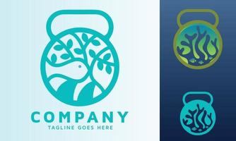 environmental and educational marine park with dumbbell and fitness icon vector logo design