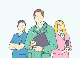 Healthcare medicine team leadership concept Group of young smiling confident men and women doctors colleagues cartoon characters vector