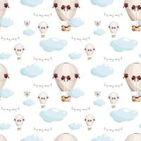 Seamless hand drawn pattern with hot air balloons  clouds and paper flags in pastel color  Kids vector illustration