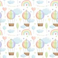 Rainbow color seamless pattern with hot air balloon  rainbow  balloons  clouds garland on white background vector