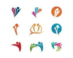 plantilla de logotipo y símbolos de cuidado de personas de la comunidad vector