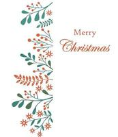 Merry Christmas card with berries and leaves vector