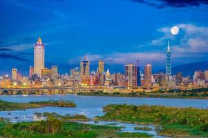 Skyline of the Taipei city by the river photo