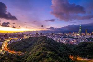 Panoramic view of Taipei city at night photo
