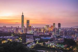 Cityscape of Taipei city in Taiwan at night photo