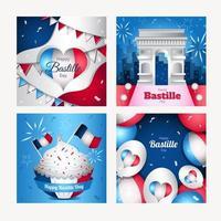 Set of Happy Bastille Day Card vector