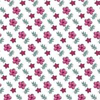 A pattern of bright pink flowers with leaves vector