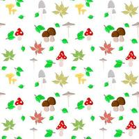 Seamless background with mushrooms and leaves Autumn vector
