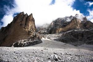 Peaks of the Cortina D'ampezzo Dolomites in Belluno, Veneto, Italy photo