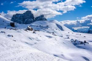 Peaks of the Dolomites in winter photo