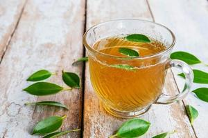 Tea cup and fresh tea leaves on a wooden table photo