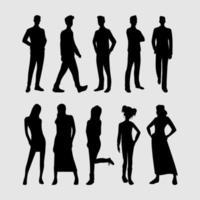 paquete de colección de silueta de personas vector