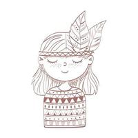 hippie girl with feathers vector