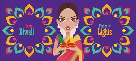 Beautiful Indian woman hands holding diya oil lamp celebrating Diwali with colourful Indian Rangoli pattern vector