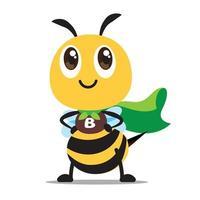 Linda abeja superhéroe con capa verde protege el medio ambiente natural en diseño plano vector