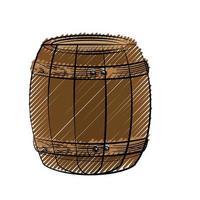 icono de barril de madera vector