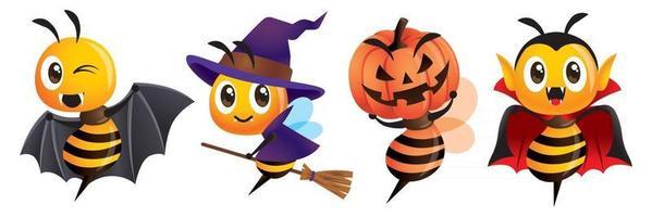 caricatura, lindo, abeja, disfraces de halloween, mascota, conjunto, con, y, vampiro, elemento vector