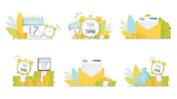 Tax time icons set vector