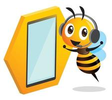 Cute operator bee wearing headset and stay beside LED touch screen standee vector