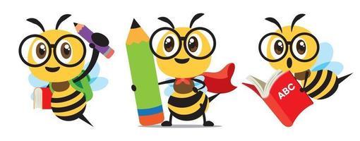 Cartoon cute bee wear cloak back to school set flat design vector