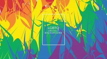 LGBTQ month banner with typography text on abstract modern sharp colorful rainbow background vector design
